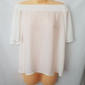 Another story off shoulder ivory Sheer top XS